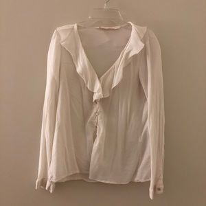 Zara Cream Ruffle Collar Blouse Button up Size M
